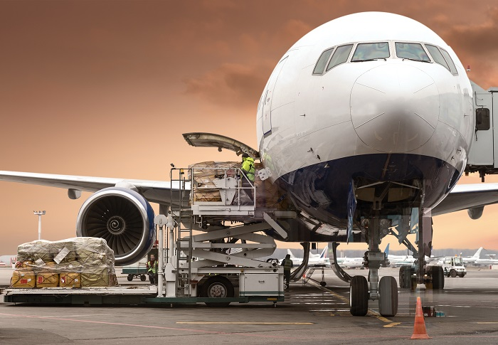 Air cargo being loaded.