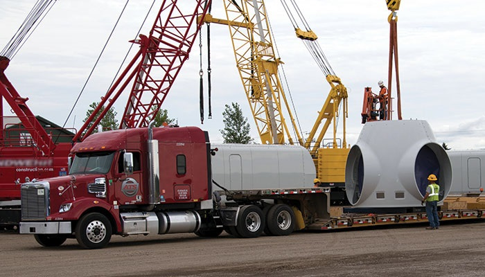 A nacelle being transported.