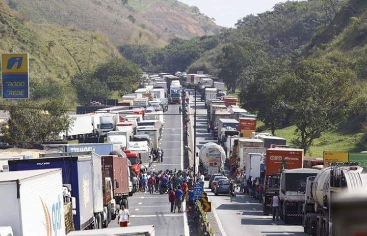 Brazil truckers blockade road.