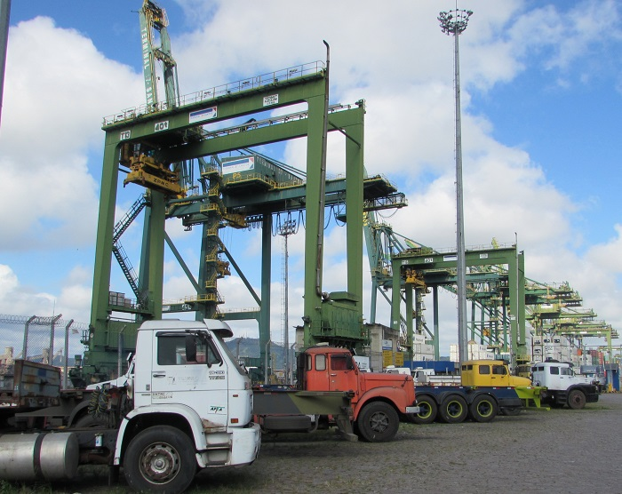 Trucks at the Port of Santos.