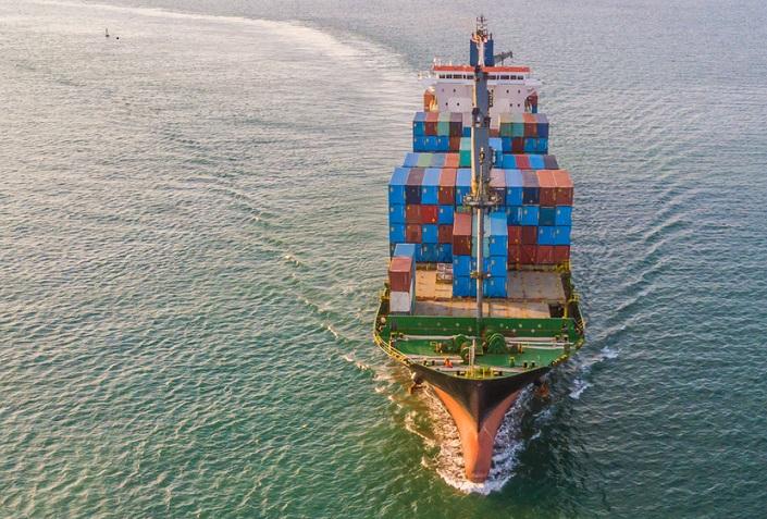 A container ship near India.