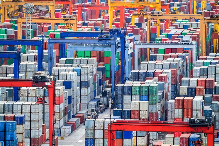 Container stacked at a port.