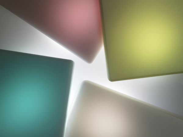 Translucent varieties of DuPont's Corian® solid surface material.