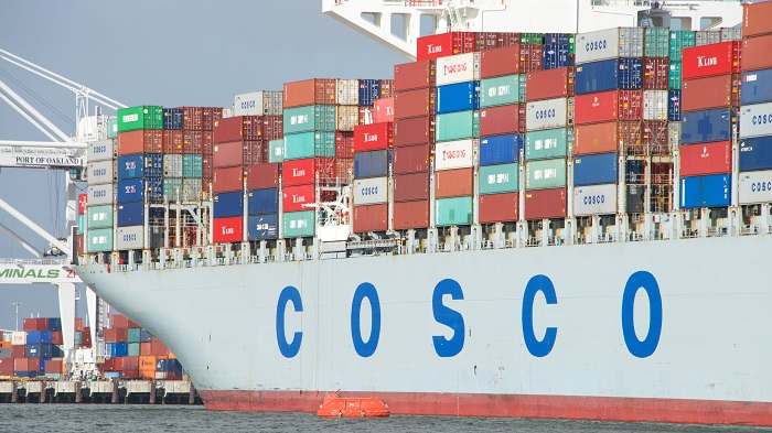 A Cosco container ship.