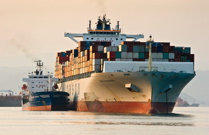 A Cosco ship being refueled.