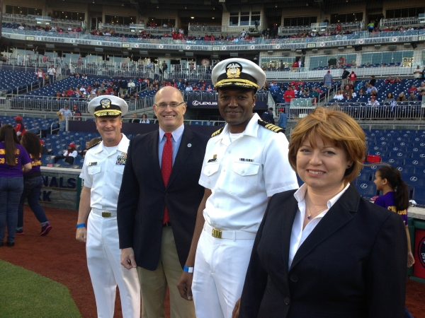 From left: MSC Commander Rear Admiral T.K. Shannon, Deputy Maritime Administrator Chip Jaenichen, Captain Fred Walley, USNS Comfort Third Officer Laura Hammond