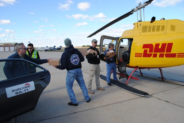 At McArthur Airport in Islip, NY, loading the DHL Helicopter for Staten Island. (Photo credit: Full Throttle Magazine New York)