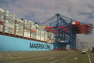 Emma Maersk at the Suez Canal Container Terminal.</div>     <div class=