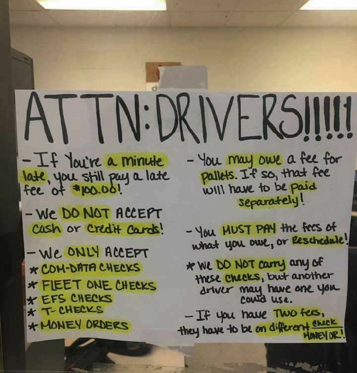 Information sign to truck drivers.