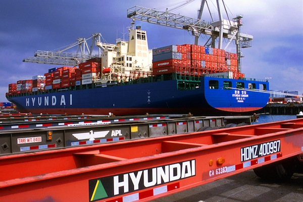Hyundai container ship, chassis at the Port of Long Beach