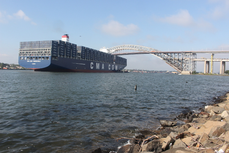 14,000-TEU CMA CGM, at Bayonne Bridge.