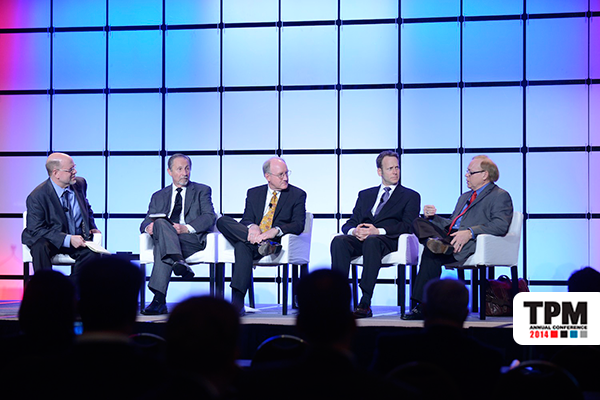 From left: William B. Cassidy, JOC; Bruce Wargo, PierPass; Dan Smith, The Tioga Group; Jason Hilsenbeck, Drayage.com; Scott C. Larson, The Bon-Ton Stores.