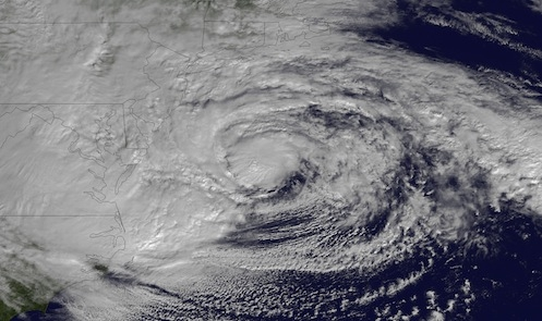 Hurricane Sandy in a satellite photo.