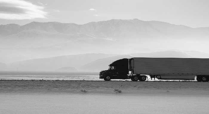A truck on a highway in Utah.