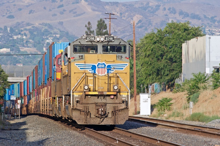 An intermodal train travels in the United States.