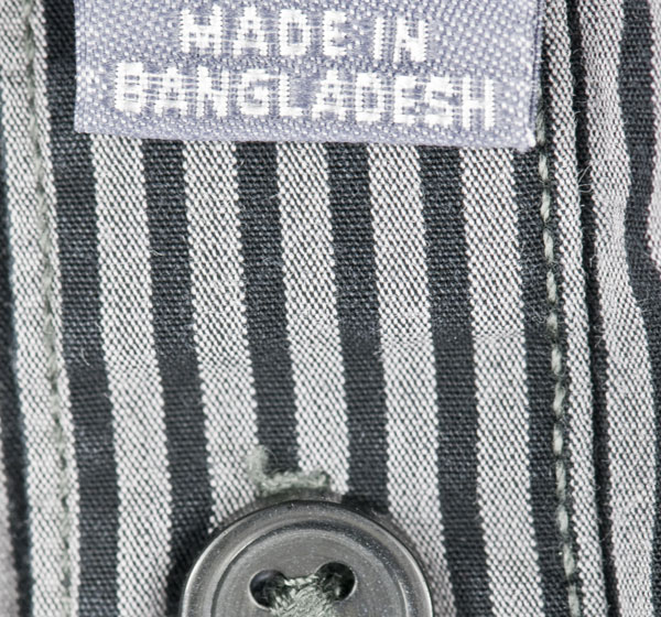 Garment with Made in Bangladesh label