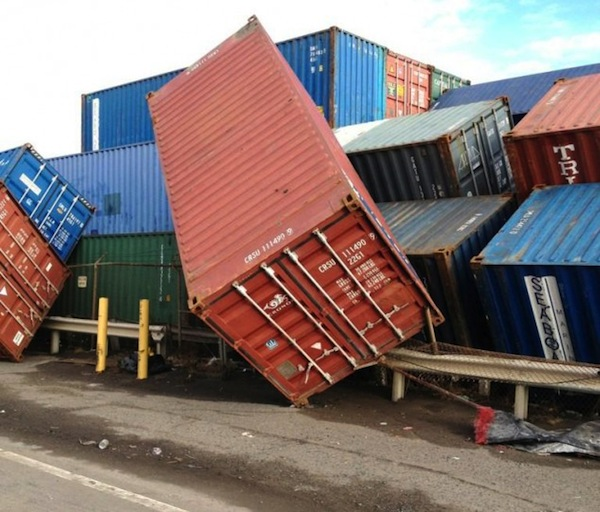 Containers damaged at Port Newark