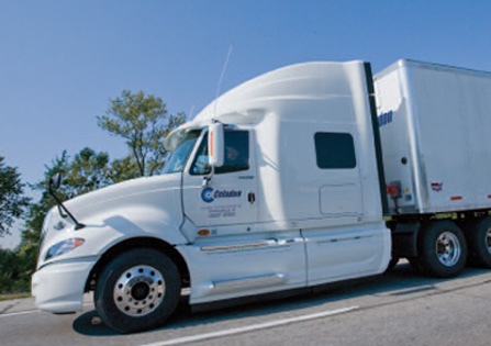 Celadon Group expects to beat Wall Street's earnings forecasts. Photo of Celadon truck.
