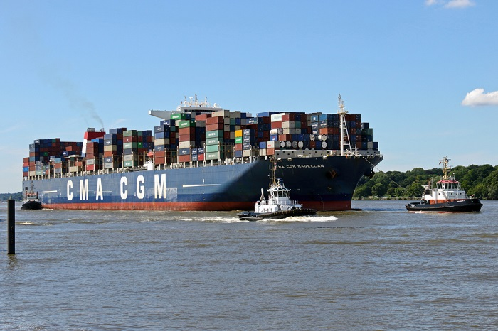 A CMA CGM ship in Europe.