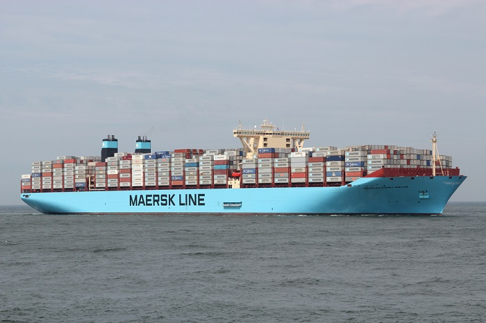 A Maersk Line ship at sea.
