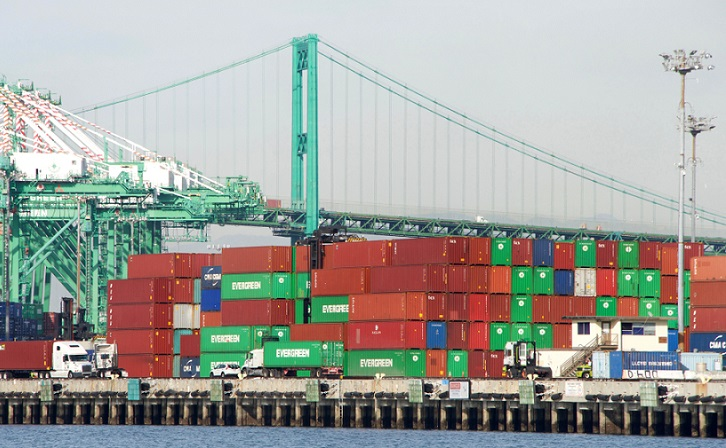 Port of Los Angeles stacked containers.