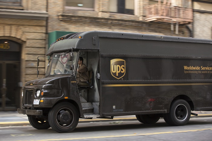 A UPS truck travels in San Francisco, California, United States.