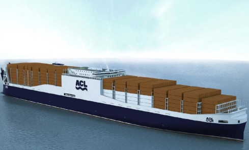 Drawing of ACL G4. Image from ACL, courtesy of Knud E. Hansen A/S & Hudong-Zhonghua Shipbuilding (Group) Co., Ltd.