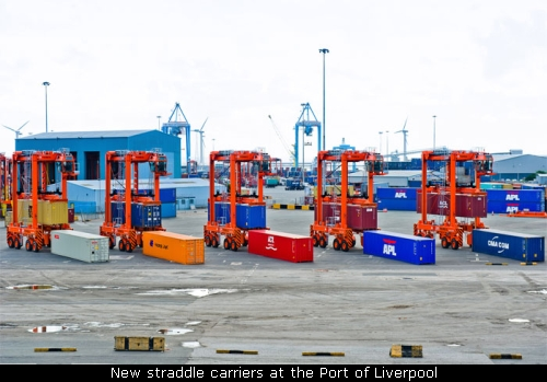 New straddle carriers at the Port of Liverpool. Courtesy Port of Liverpool.