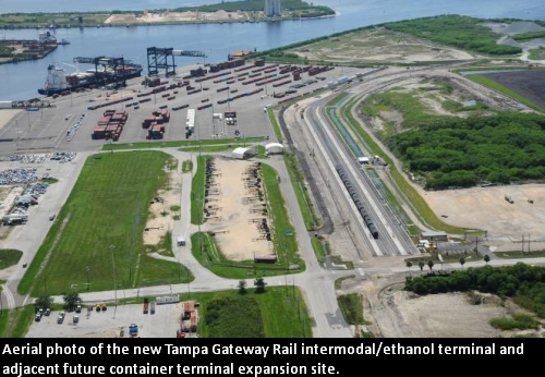 Aerial photo of the new Tampa Gateway Rail intermodal/ethanol terminal and adjacent future container terminal expansion site.