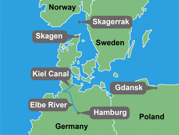 Map showing Port of Hamburg, Kie</body></html>