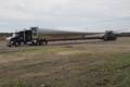 A wind power blade being transported in the United States.