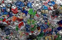 Aluminum cans stacked.