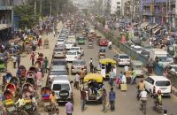 A busy road in cntral Dhaka, Bangladesh.
