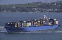A container ship on the Mediterranean Sea.