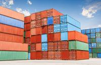 Containers stacked at a port.