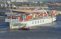 A Cosco ship.