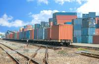 Freight at a rail yard.