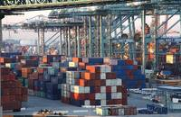 Containers stacked at the Port of Long Beach.