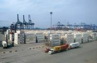 Maersk containers, vessel at port of Paranagua.