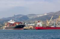 Ships at the port of Novorossiysk, Russia.