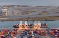 Port of Oakland at dawn.