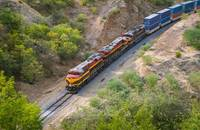 An intermodal train travels in Mexico.
