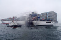 The Safmarine Meru following the accident. Credit: ZJOL.