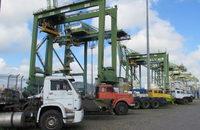 Isle ship-to-shore gantry cranes at port of Santos, Brazil