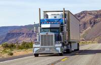 A truck travels in the United States.