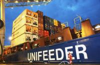 Unifeeder vessel at a berth