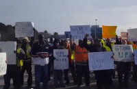 Truckers protesting at Virginia International Gateway.