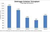 Zeebrugge's container volume rose 9.9 percent year-over-year in the first half of 2014 from 2013's 961,000 TEUs