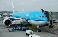 Air cargo being loaded in Amsterdam, Netherlands.