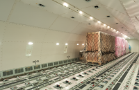 Air cargo inside a freighter